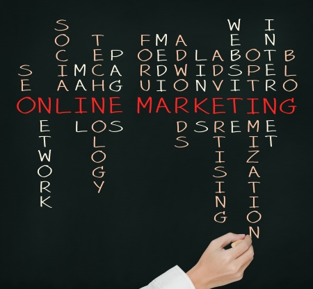 クロスワード パズルをオンライン マーケティングの概念ビジネス手書き 写真素材