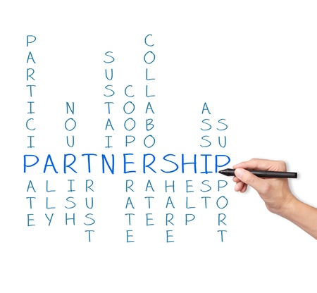 business hand writing partnership concept crossword Stock Photo - 16450296