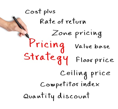 ビジネス手価格設定戦略のコンセプトを書き込む
