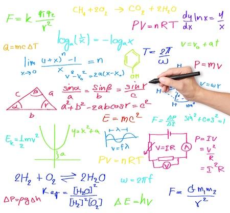 教師手書きの様々 な高校の数学と科学の数式