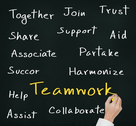 business hand writing teamwork concept Stock Photo - 16450372