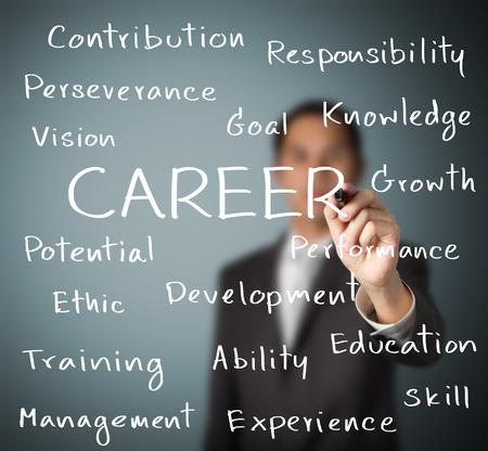 career success: business man writing career concept