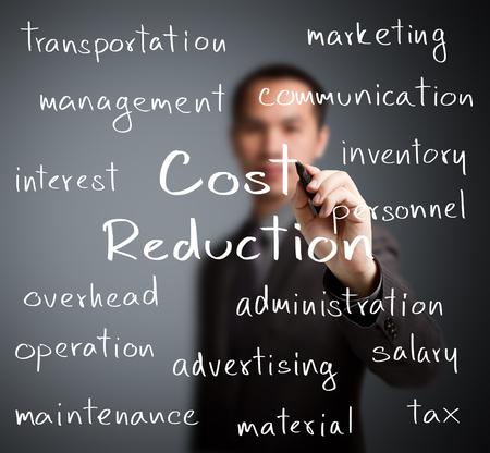 zakenman schrijven kostenreductie begrip