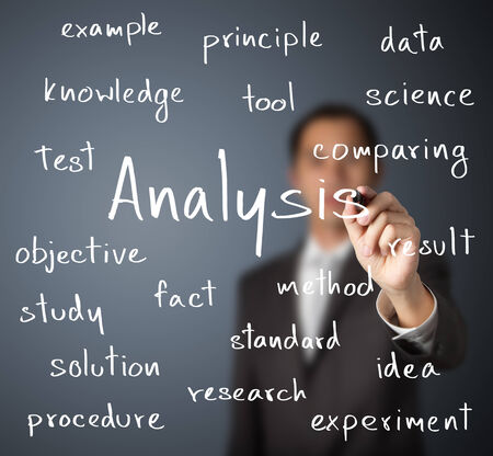 investigating: business man writing analysis concept