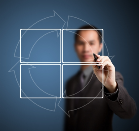 4 ステップ サイクル図を書くビジネス男