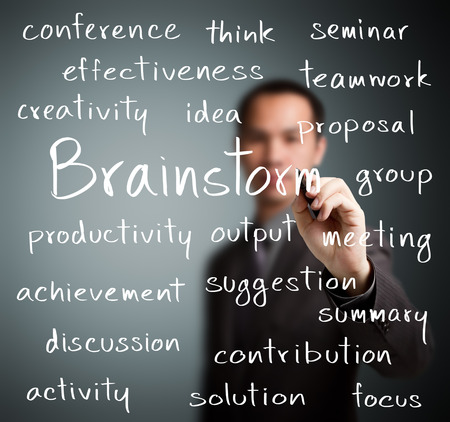 team working together: business man writing brainstorm concept Stock Photo