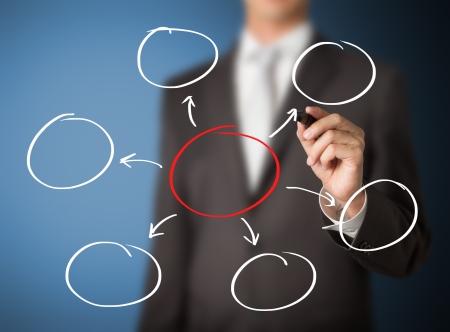 disseminate: business man writing diagram