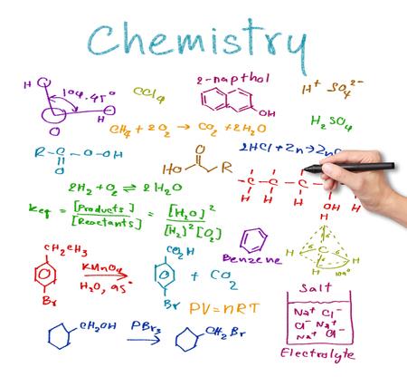 quimica organica: ciencia escritura de la mano maestra y fórmula química Foto de archivo