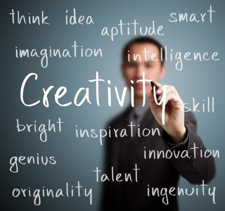 ingenuity: business man writing creativity concept