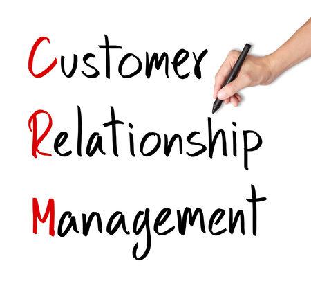 relation clients: concept de gestion de CRM de la relation client de l'�criture de la main d'affaires Banque d'images