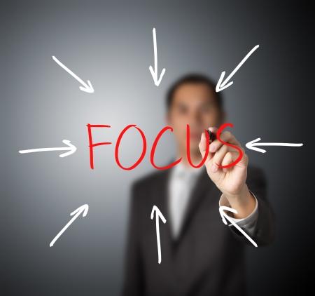 focus on the goal: business man target on focus