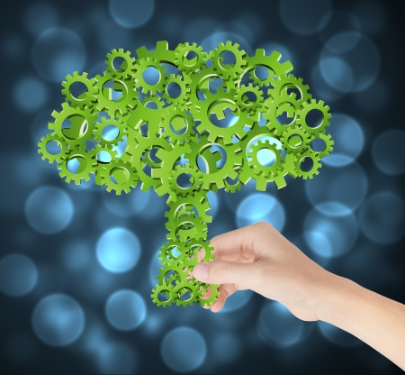 手開催環境コンセプト工業用ギヤの緑の木