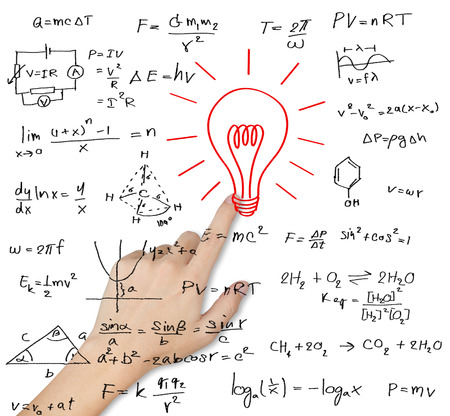 equation: hand pointing idea lightbulb with various maths and science formula