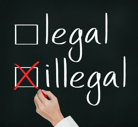 lawful: business hand writing red check mark for illegal selection Stock Photo