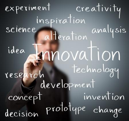 イノベーション概念を書いているビジネスその男 写真素材