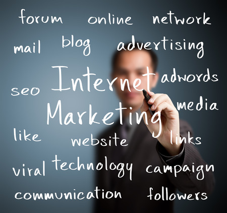 business man writing internet marketing concept photo
