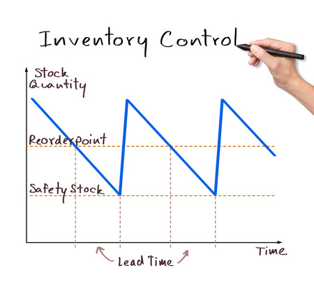 inventories: business hand writing inventory control graph Stock Photo