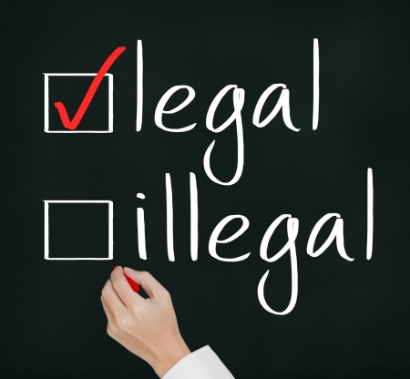 lawful: business hand writing red check mark for legal selection