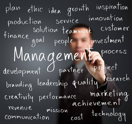 background project: business man writing management concept Stock Photo