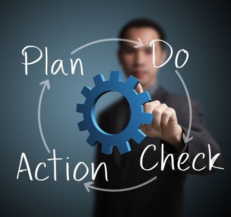 in action: business man pointing at plan - do - check action process Stock Photo