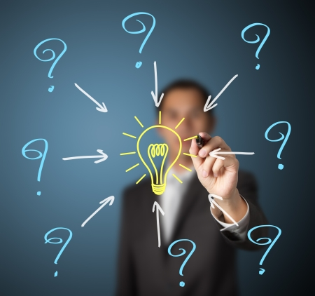 creative answers: business man writing  questions and solution idea light bulb