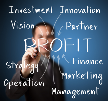 business man writing concept of making profit photo