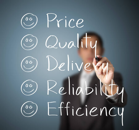 reliability: customer evaluate happy on  price quality delivery reliability and efficiency Stock Photo