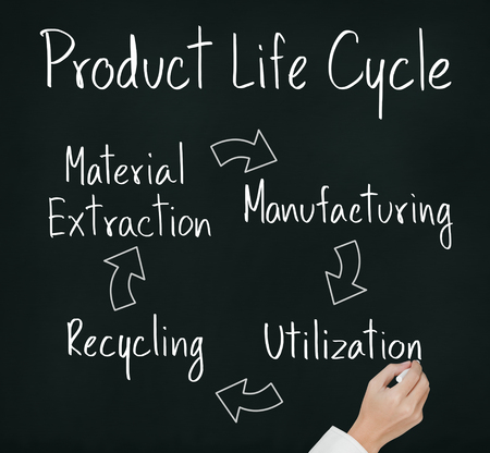 business hand writing product life cycle chart   engineering concept   photo
