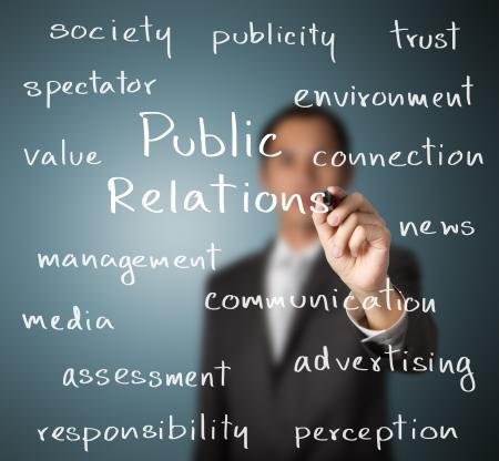 relaciones publicas: hombre de negocios por escrito concepto de relaciones públicas