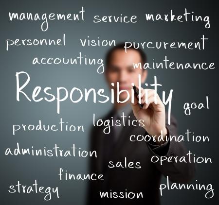 責任の概念を書くビジネス男