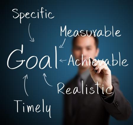 metas: hombre de negocios por escrito el establecimiento de metas inteligentes