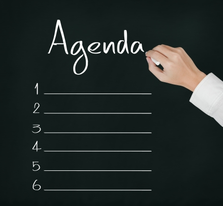 agenda: business hand writing blank agenda list Stock Photo