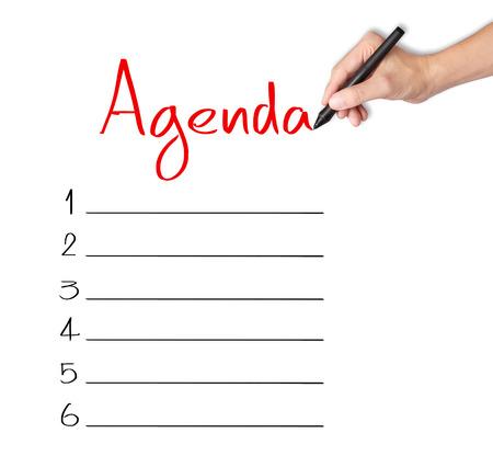 business hand: business hand writing blank agenda list Stock Photo
