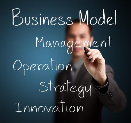 business man writing business model Stock Photo