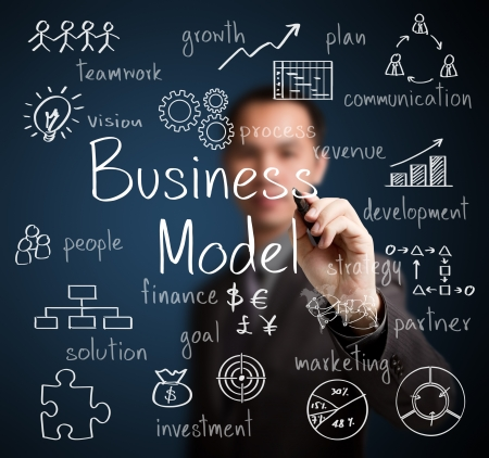 model: business man writing business model concept Stock Photo
