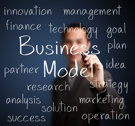 business model: business man writing business model concept Stockfoto