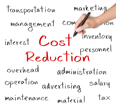 cost reduction: business hand writing cost reduction concept