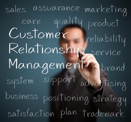 relation clients: concept de gestion de CRM de la relation client de l'�criture de l'homme d'affaires
