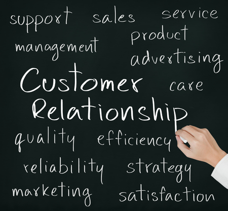 service industry: business hand writing customer relationship concept