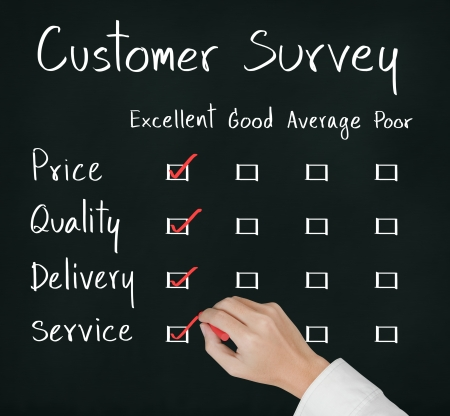 good service: business hand evaluate excellence on customer survey form