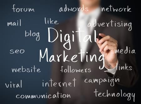 business man writing digital marketing concept