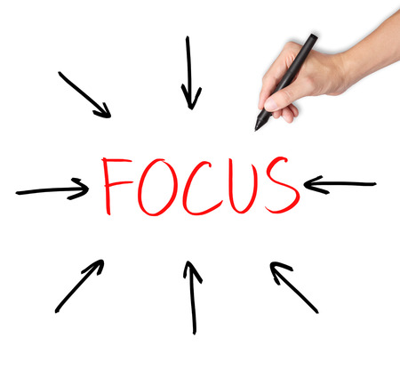 focus on the goal: business hand target on focus Stock Photo