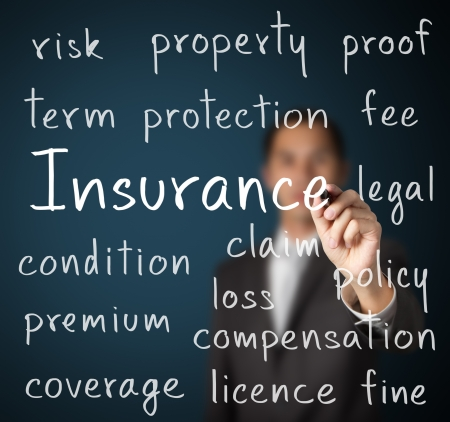 property management: business man writing insurance concept