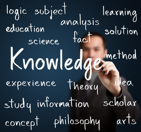 knowledge concept: business man writing knowledge concept