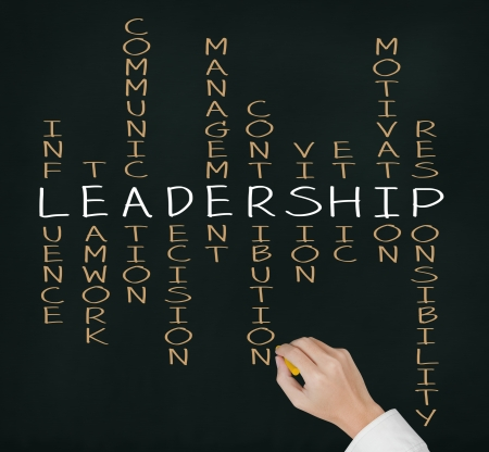 business writing: business hand writing leadership skill concept by crossword Stock Photo