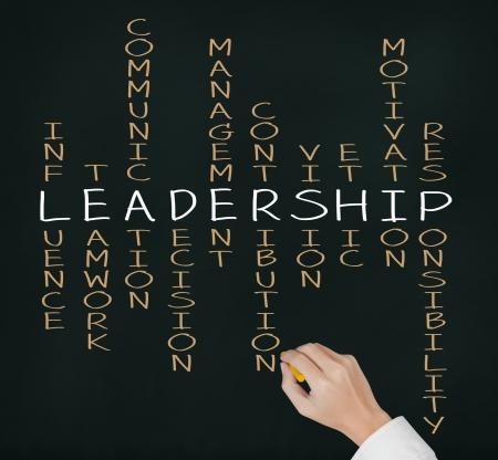 gestion empresarial: liderazgo escritura de la mano concepto de negocio de habilidad por crucigramas Foto de archivo