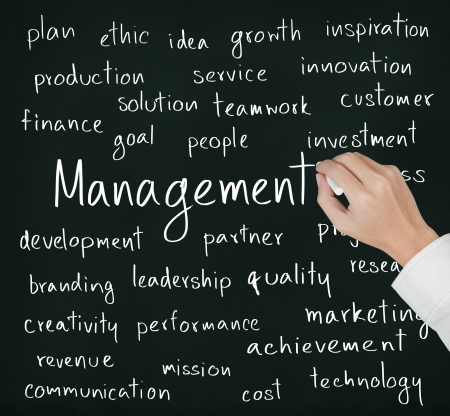 business hand: business hand writing management concept Stock Photo