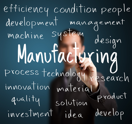 manufacturing materials: business man writing manufacturing concept