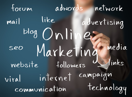 adwords: business man writing on line marketing concept Stock Photo