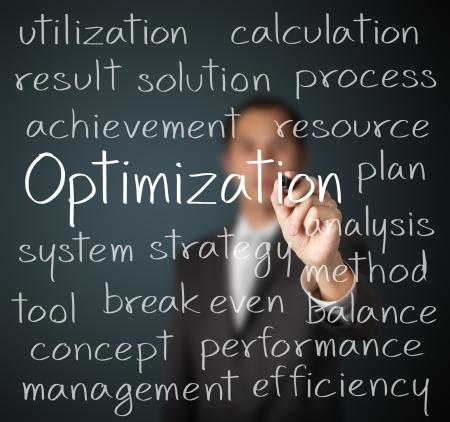 business man writing optimization concept